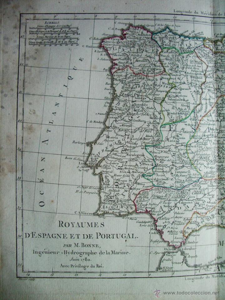Arte: 1780-MAPA DE ESPAÑA Y PORTUGAL. M. BONNE. ORIGINAL - Foto 2 - 45435339