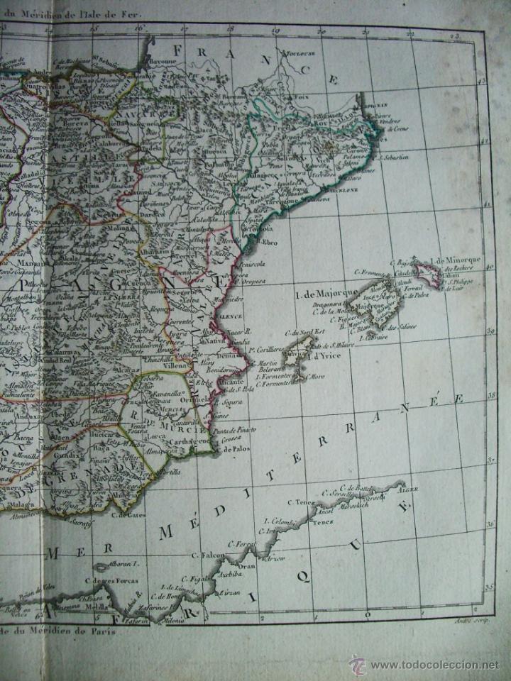 Arte: 1780-MAPA DE ESPAÑA Y PORTUGAL. M. BONNE. ORIGINAL - Foto 3 - 45435339