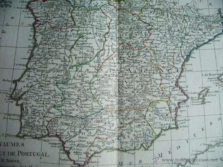 Arte: 1780-MAPA DE ESPAÑA Y PORTUGAL. M. BONNE. ORIGINAL - Foto 4 - 45435339