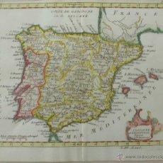 Arte: MAPA DE ESPAÑA Y PORTUGAL, 1787.LAPORTE. Lote 46252258