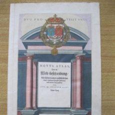 Arte: FRONTISPICIO O PORTADA DEL ATLAS NOVUS, 1642. JOAN BLAEU. Lote 47257424