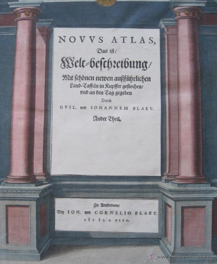 Arte: Frontispicio o portada del Atlas Novus, 1642. Joan Blaeu - Foto 4 - 47257424