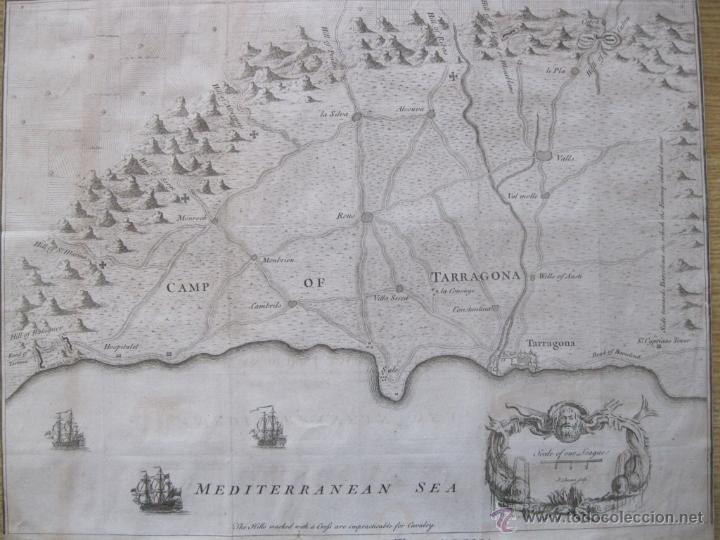 Arte: Mapa de Tarragona, España.(1745), Basire. - Foto 3 - 47257482