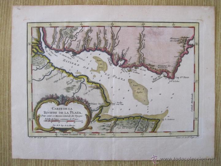 MAPA DEL RÍO DE LA PLATA, URUGUAY-ARGENTINA.1746.BELLIN (Arte - Cartografía Antigua (hasta S. XIX))