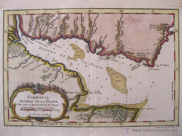 Arte: Mapa del Río de la Plata, Uruguay-Argentina.1746.Bellin - Foto 3 - 47490145