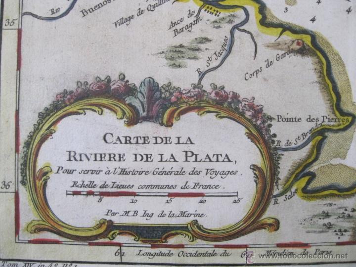Arte: Mapa del Río de la Plata, Uruguay-Argentina.1746.Bellin - Foto 4 - 47490145