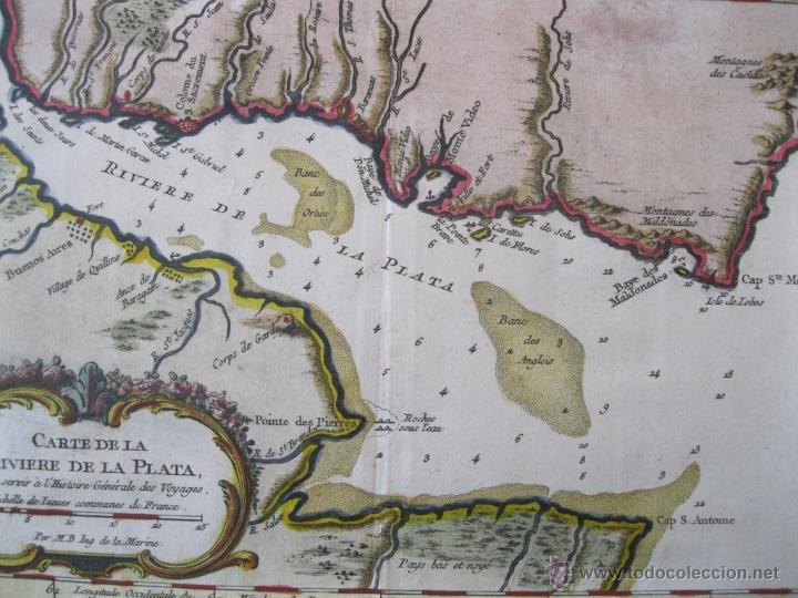 Arte: Mapa del Río de la Plata, Uruguay-Argentina.1746.Bellin - Foto 5 - 47490145