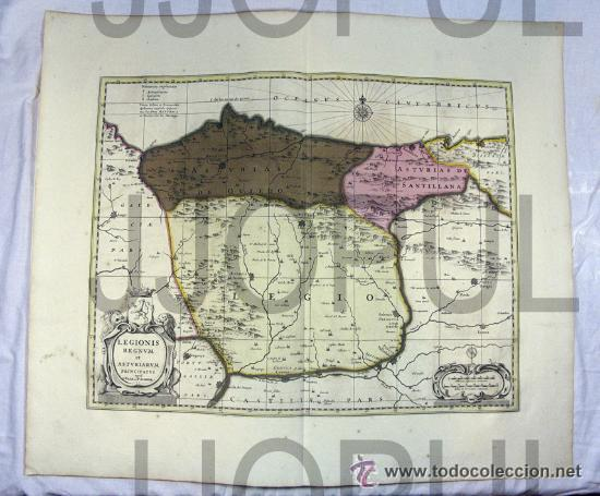 ANTIGUO MAPA LEGIONIS REGNUM ET ASTURIARUM PRINCIPATUS. WALK Y SCHENK ASTURIAS LEON FIN SIGLO XVII (Arte - Cartografía Antigua (hasta S. XIX))