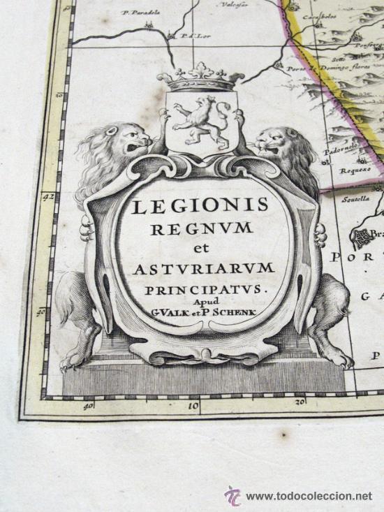 Arte: ANTIGUO MAPA LEGIONIS REGNUM ET ASTURIARUM PRINCIPATUS. WALK Y SCHENK ASTURIAS LEON FIN SIGLO XVII - Foto 2 - 48549587