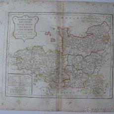 Arte: 'NORMANDIE, BRETAGNE, MAINE ANJOU, TOURAINE ET SAUMUROIS' PAR ROBERT DE VAUGONDY 1806. Lote 48716486