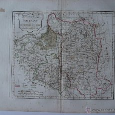 Arte: ROYAUME DE POLOGNE' SEGÚN LAS PARTICIONES HECHAS EN 1772, 1793 Y 1795 PAR ROBERT DE VAUGONDY. Lote 48734876