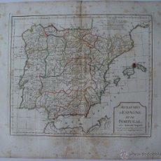 Arte: 'ROYAUMES D' ESPAGNE ET DE PORTUGAL' PAR ROBERT DE VAUGONDY. Lote 48734968