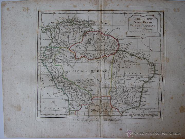 'TERRE-FERME, PEROU, BRASIL, PAYS DE L'AMAZONE PAR ROBERT DE VAUGONDY (Arte - Cartografía Antigua (hasta S. XIX))