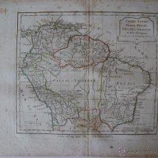 Arte: 'TERRE-FERME, PEROU, BRASIL, PAYS DE L'AMAZONE PAR ROBERT DE VAUGONDY. Lote 48778878