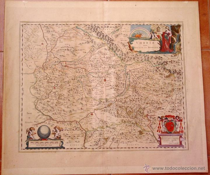 CARTOGRAFIA ANTIGUA,MAPA ITALIA AÑO 1660,S.XVII,CARTOGRAFO HOLANDES BLAEU,UMBRIA DUCATO DI SPOLETO (Arte - Cartografía Antigua (hasta S. XIX))