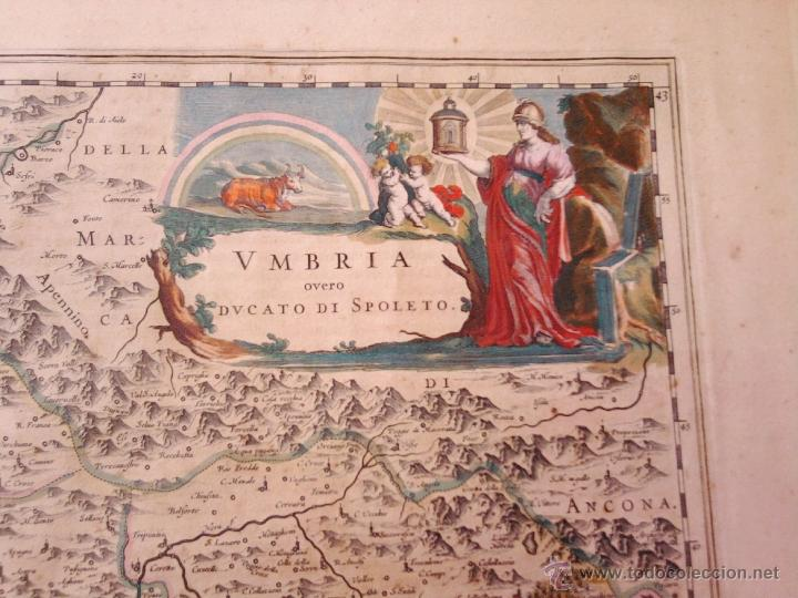 Arte: CARTOGRAFIA ANTIGUA,MAPA ITALIA AÑO 1660,S.XVII,CARTOGRAFO HOLANDES BLAEU,UMBRIA DUCATO DI SPOLETO - Foto 2 - 49747317