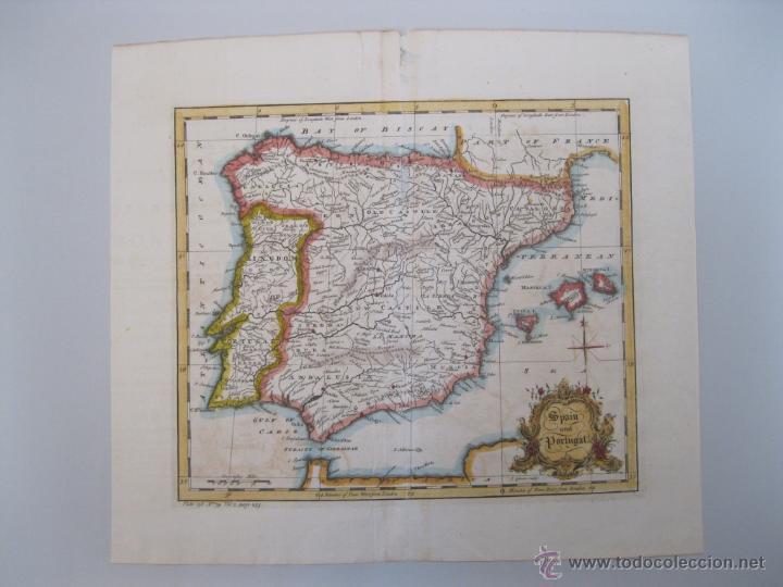 MAPA DE ESPAÑA Y PORTUGAL, 1752. JOHN GIBSON (Arte - Cartografía Antigua (hasta S. XIX))