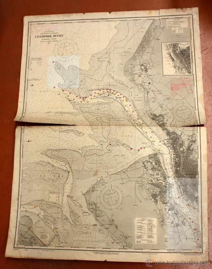 CARTA NAUTICA INGLESA DEL AÑO 1917. LIVERPOOL BUCHT (Arte - Cartografía Antigua (hasta S. XIX))