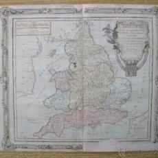 Arte: MAPA DE INGLATERRA, REINO UNIDO, 1766. BRION. Lote 49983056