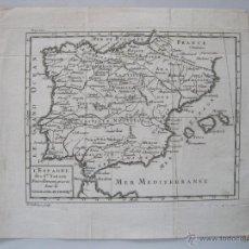 Arte: MAPA DE ESPAÑA Y PORTUGAL, 1720. NICOLÁS SANSON. Lote 50578443