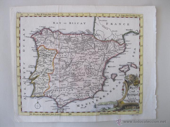 MAPA DE ESPAÑA Y PORTUGAL, 1749. JEFFERYS (Arte - Cartografía Antigua (hasta S. XIX))
