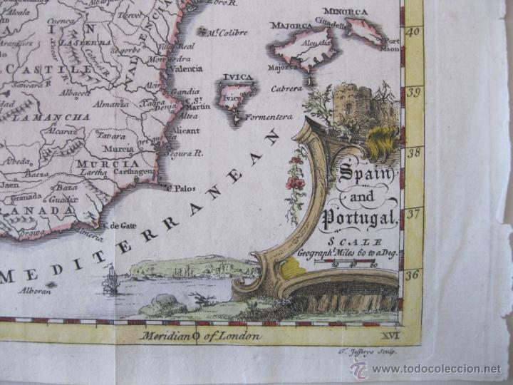 Arte: Mapa de España y Portugal, 1749. Jefferys - Foto 2 - 50677329