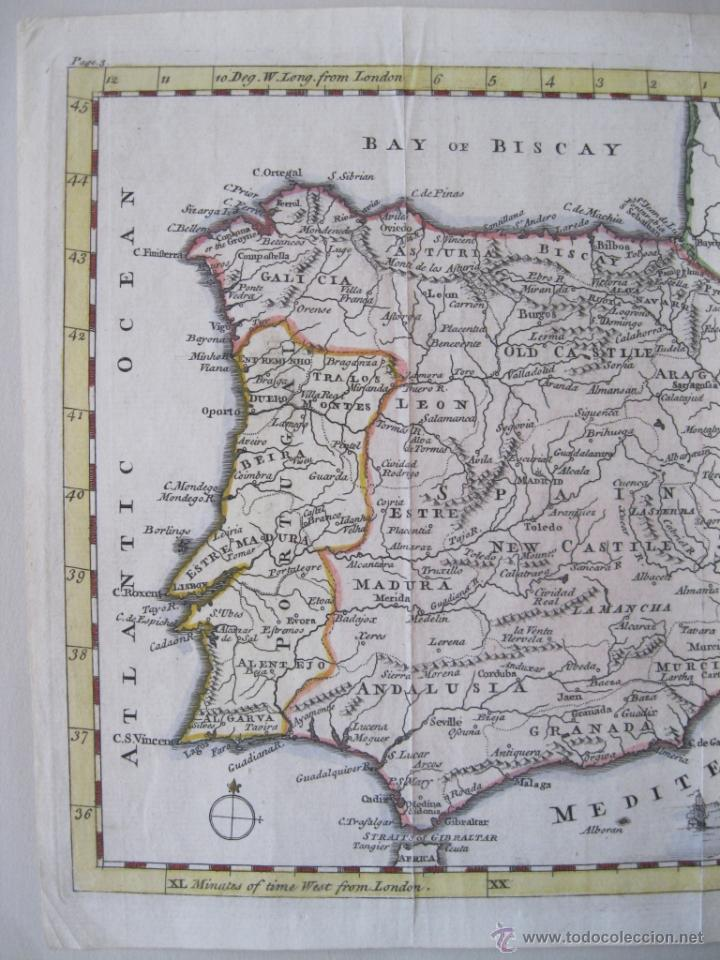 Arte: Mapa de España y Portugal, 1749. Jefferys - Foto 4 - 50677329
