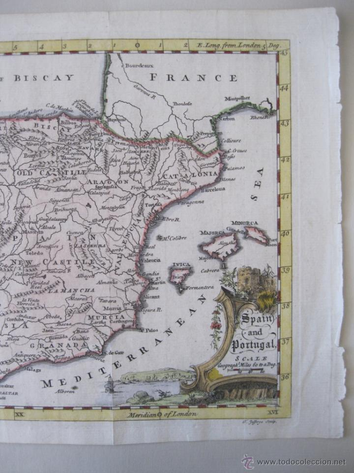 Arte: Mapa de España y Portugal, 1749. Jefferys - Foto 5 - 50677329