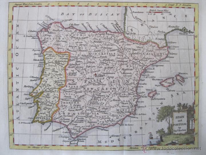 MAPA DE ESPAÑA Y PORTUGAL, 1799. KITCHIN (Arte - Cartografía Antigua (hasta S. XIX))