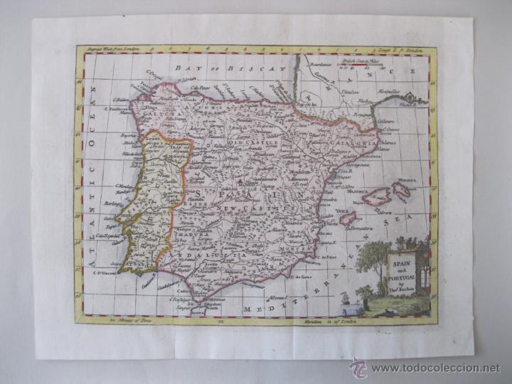 Arte: Mapa de España y Portugal, 1799. Kitchin - Foto 2 - 50702198