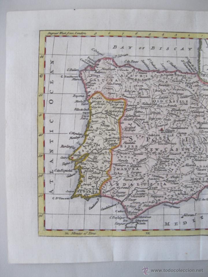 Arte: Mapa de España y Portugal, 1799. Kitchin - Foto 3 - 50702198