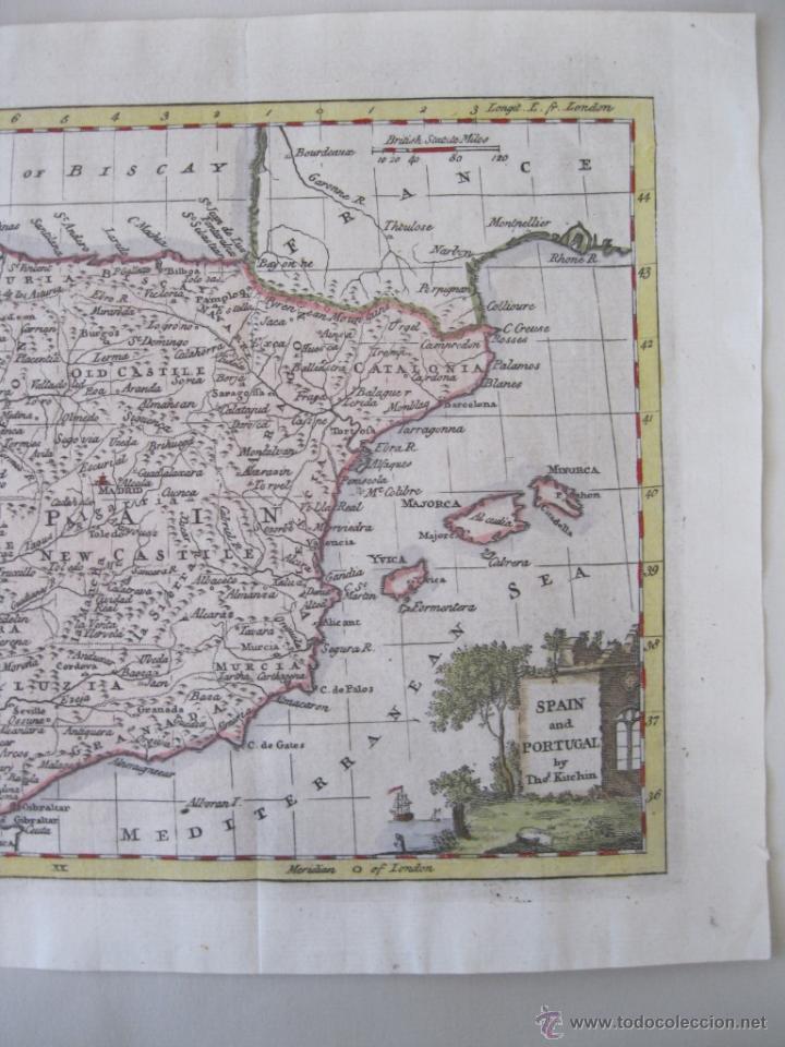 Arte: Mapa de España y Portugal, 1799. Kitchin - Foto 4 - 50702198