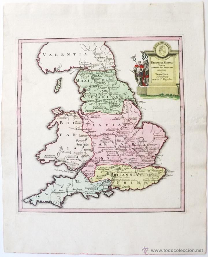 MAPA DEL REINO UNIDO ROMANO, 1720.WEIGEL (Arte - Cartografía Antigua (hasta S. XIX))