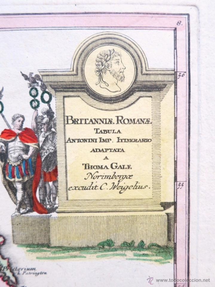 Arte: Mapa del Reino Unido romano, 1720.Weigel - Foto 2 - 51036120
