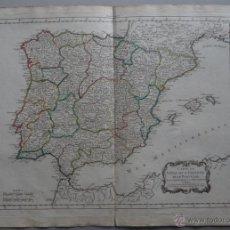 Arte: MAPA DE ESPAÑA Y PORTUGAL, 1784. BOURGOIN. Lote 262702785