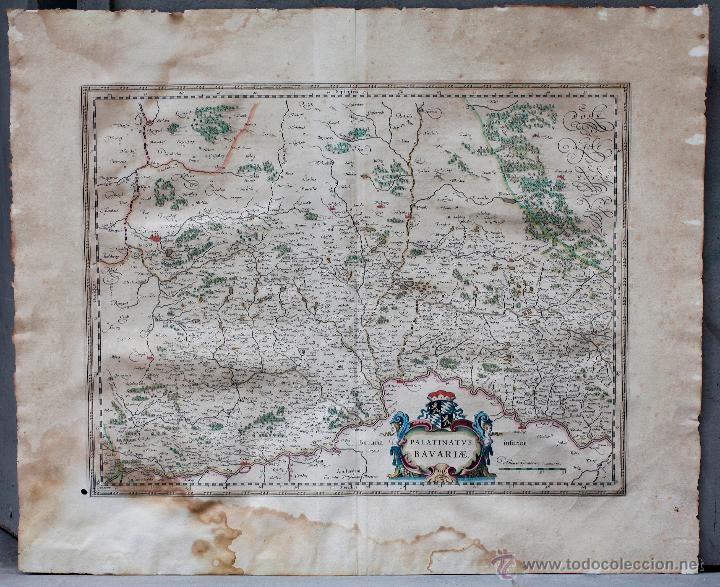 PALATINADO DE BAVIERA (ALEMANIA) PALATINATUS BAVARIAE, SIGLO XVII. MAPATAMAÑO SOPORTE: 52X64 CM. (Arte - Cartografía Antigua (hasta S. XIX))
