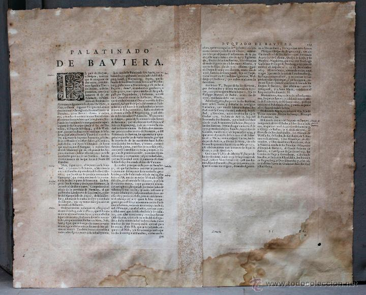 Arte: Palatinado de Baviera (Alemania) Palatinatus Bavariae, siglo XVII. Mapatamaño soporte: 52x64 cm. - Foto 2 - 51099715