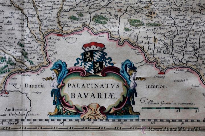 Arte: Palatinado de Baviera (Alemania) Palatinatus Bavariae, siglo XVII. Mapatamaño soporte: 52x64 cm. - Foto 5 - 51099715