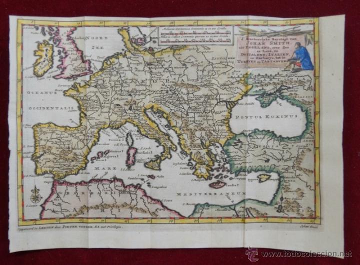 MAPA DE EUROPA. LAS AVENTURAS DE JHON SMITH, 1706. PIETER VAN DER AA (Arte - Cartografía Antigua (hasta S. XIX))