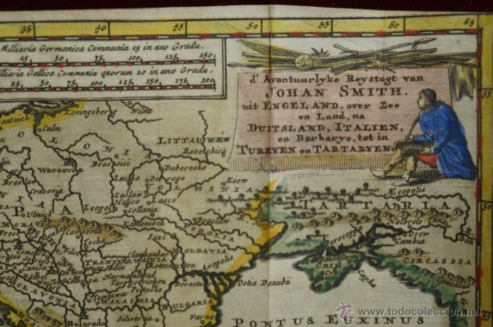 Arte: Mapa de Europa. Las aventuras de Jhon Smith, 1706. Pieter Van der Aa - Foto 3 - 51578959