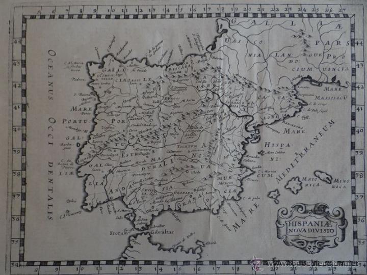 Arte: Mapa de España y Portugal, 1648. Philippe Briet - Foto 3 - 51655615