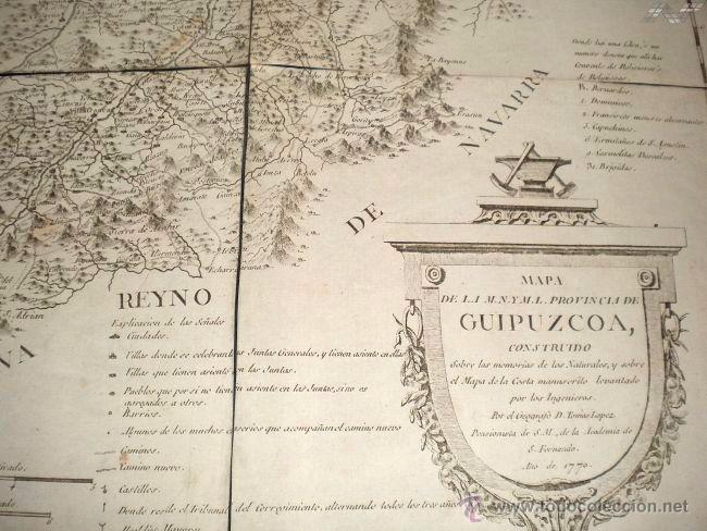 Arte: Mapa antiguo Guipúzcoa año 1770 con certificado de autenticidad . Mapas antiguos País Vasco - Foto 2 - 52586280