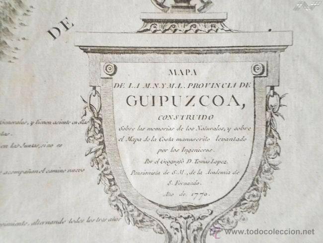 Arte: Mapa antiguo Guipúzcoa año 1770 con certificado de autenticidad . Mapas antiguos País Vasco - Foto 3 - 52586280