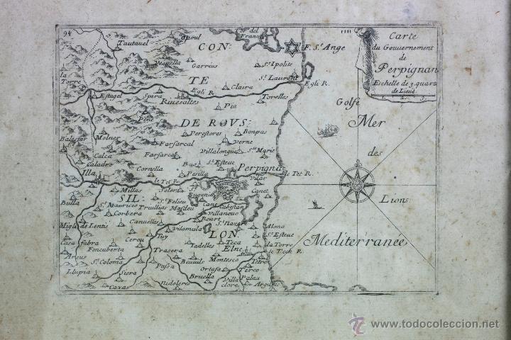 Arte: carte du gouvernement de Perpignan, Grabado antiguo, marco: 28x26 cm. - Foto 2 - 52808317