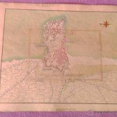 Arte: MAPA DIBUXAT I COLOR ORIGINAL DE PALAMOS, ANONIM, 1695, EXTREMADEMENT RAR. Lote 53281068