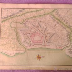 Arte: MAPA DIBUXAT I COLOR ORIGINAL DE ROSES, ANONIM, 1695, EXTREMADEMENT RAR. Lote 53281701
