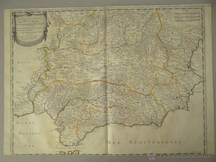 GRAN MAPA DE CASTILLA, VALENCIA, MURCIA Y ANDALUCÍA (ESPAÑA), 1652. SANSON/MARIETTE (Arte - Cartografía Antigua (hasta S. XIX))