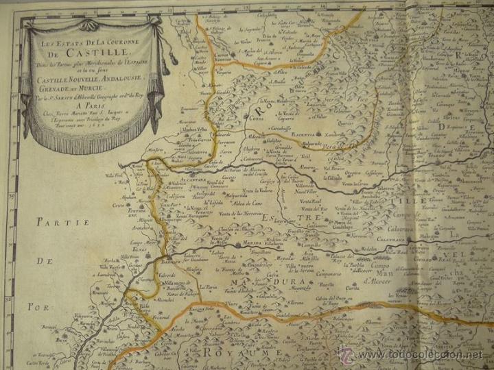 Arte: Gran mapa de Castilla, Valencia, Murcia y Andalucía (España), 1652. Sanson/Mariette - Foto 2 - 53372034