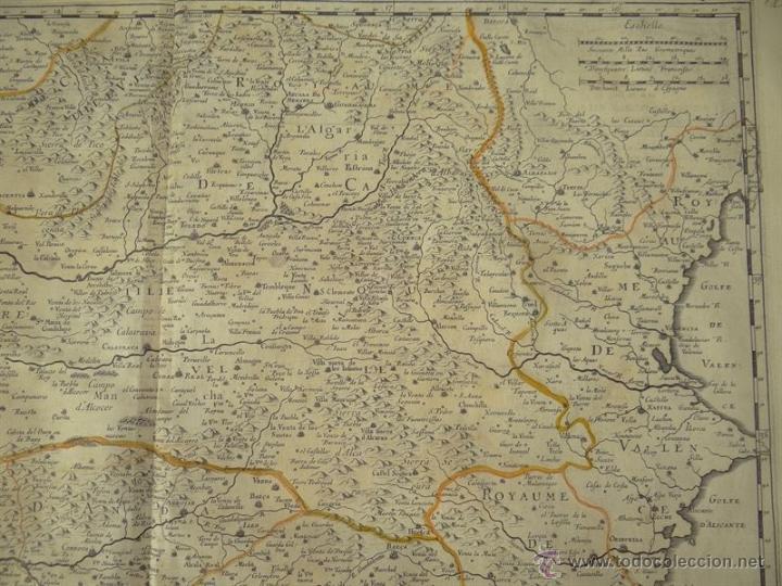 Arte: Gran mapa de Castilla, Valencia, Murcia y Andalucía (España), 1652. Sanson/Mariette - Foto 3 - 53372034