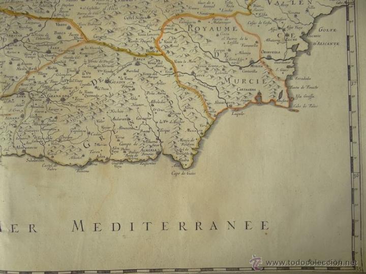 Arte: Gran mapa de Castilla, Valencia, Murcia y Andalucía (España), 1652. Sanson/Mariette - Foto 5 - 53372034